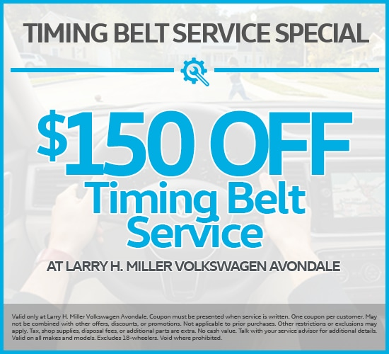 $150 Off Timing Belt Service at Larry H. Miller Volkswagen Avondale