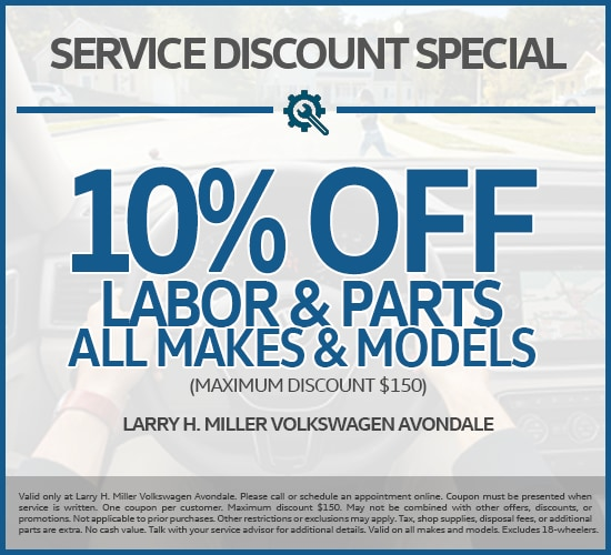 Get 10% Off Labor & Parts On All Makes And Models at Larry H. Miller Volkswagen Avondale