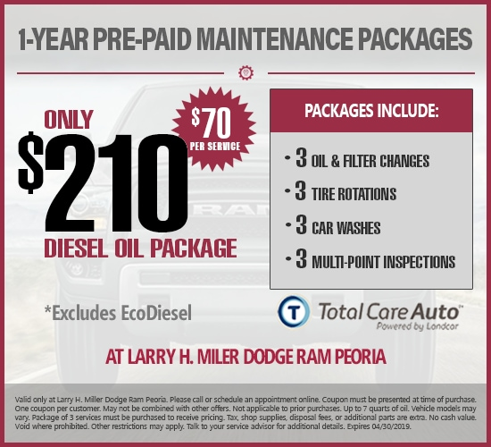 1-Year Pre-Paid Maintenance Diesel Oil Changes at Larry H. Miller  Dodge Ram Peoria