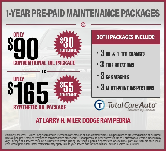1-Year Pre-Paid Maintenance Synthetic Or Conventional Oil Changes  at Larry H. Miller Dodge Ram Peoria