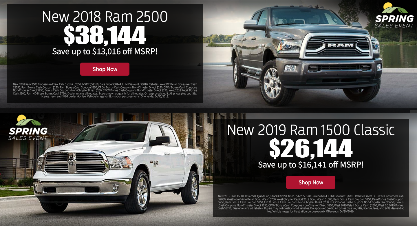 8a58259c40 Amazing Deals On Select 2019 Ram 1500 Classic and Select 2018 Ram 2500 at  Larry H