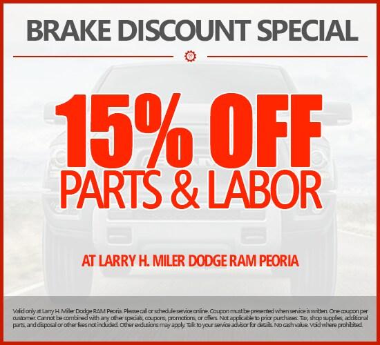 15% Off Brakes Parts & Labor at Larry H. Miller Dodge Ram Peoria