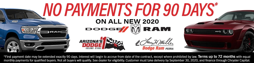 No Payments for 90 Days on All New 2020 Dodge and Ram vehicles - up to terms of 72 months.