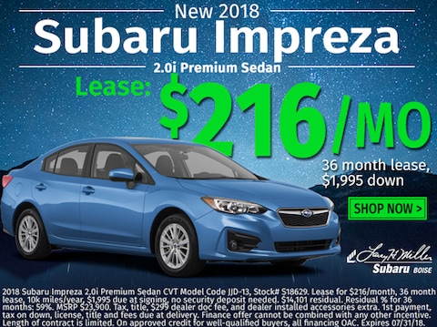 Lease a new 2018 Impreza for $216/Month