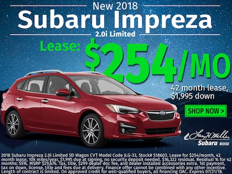 Lease a new 2018 Impreza for $254/month