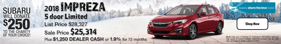 2018 Subaru Impreza 5 Door Limited