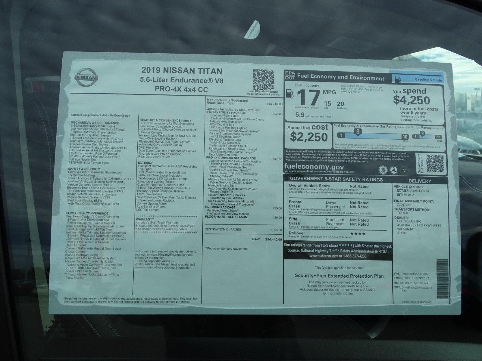 New 2019 Nissan Titan PRO-4X For Sale in Wilson, NC   Near