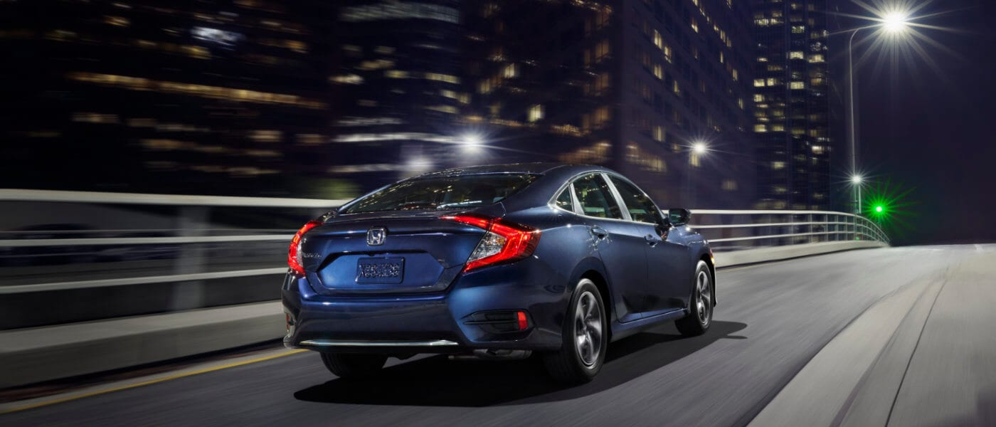 New Blue 2019 Honda Civic on highway