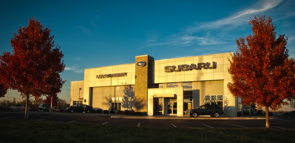 lee's summit subaru dealership at  dusk