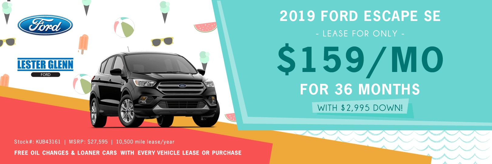 Ford Escape Lease >> 2019 Ford Escape Lease And Finance Specials Lester Glenn Ford