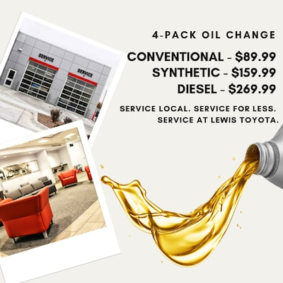 $22.50 Oil Change w/ 4-Pack Purchase
