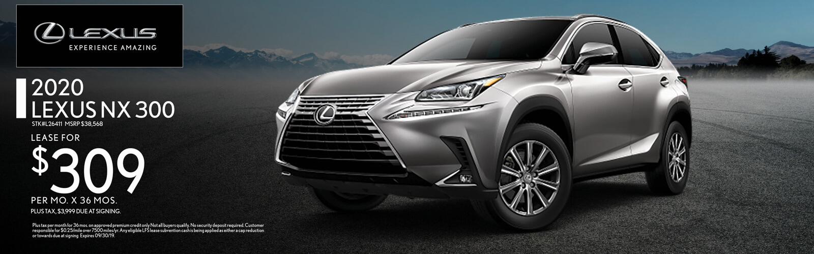 Lease a 2020 Lexus NX 300 for $309/mo. for 36 mos.