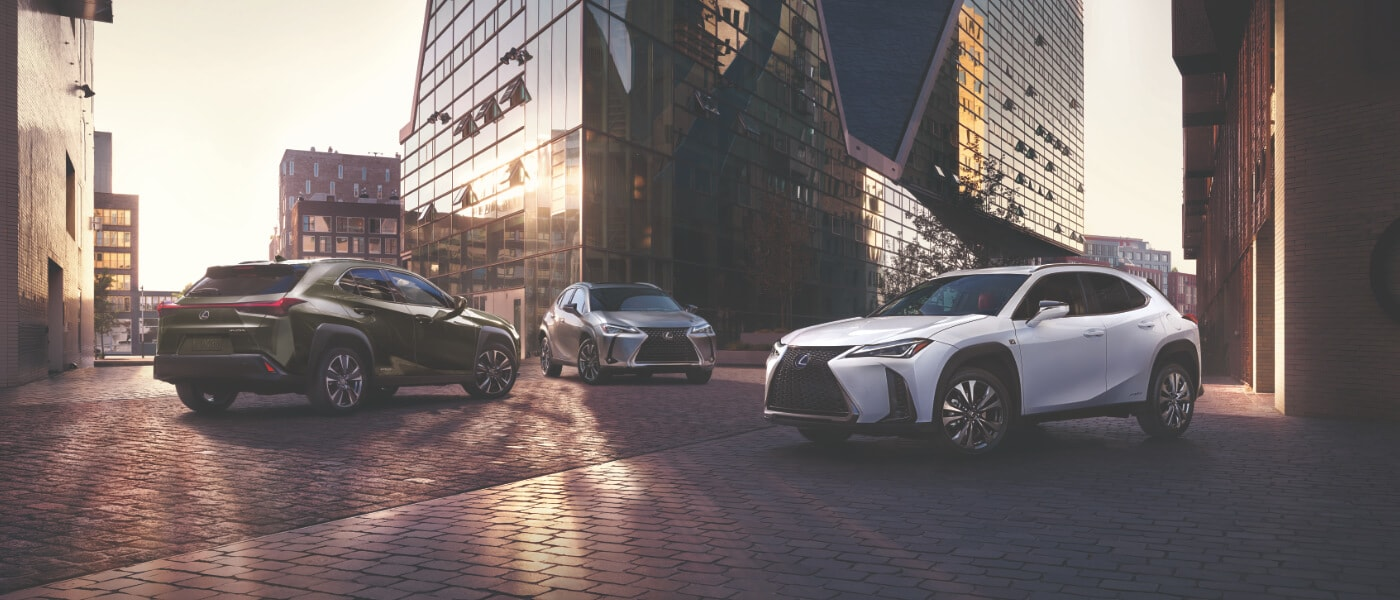 2020 Lexus UX 250h parked in front of an office