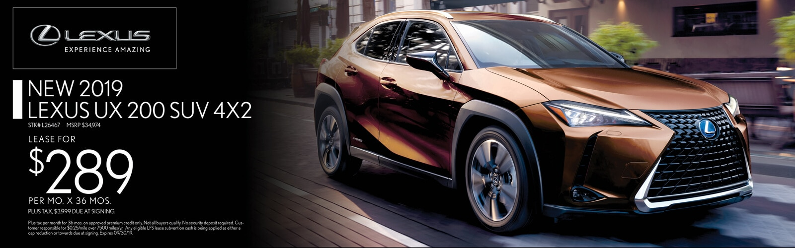 Lease a 2019 Lexus UX 200 for $289/mo. for 36 mos.