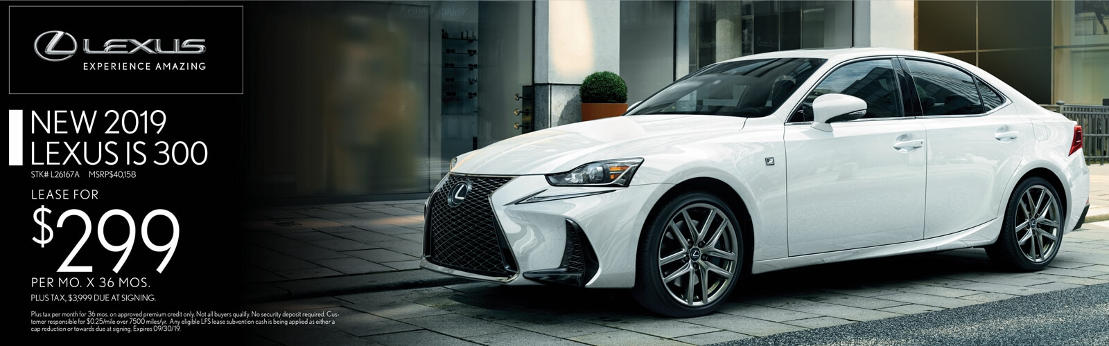 Lease a 2019 Lexus IS 300 for $299/mo. for 36 mos.