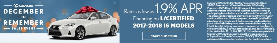 Rates as low as 1.9% APR Financing on L/Certified 2017-2018 IS models