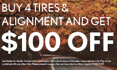 Buy 4 Tires & Alignment and Get $100 Off