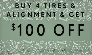 $100 off with 4 New Tires and Alignment