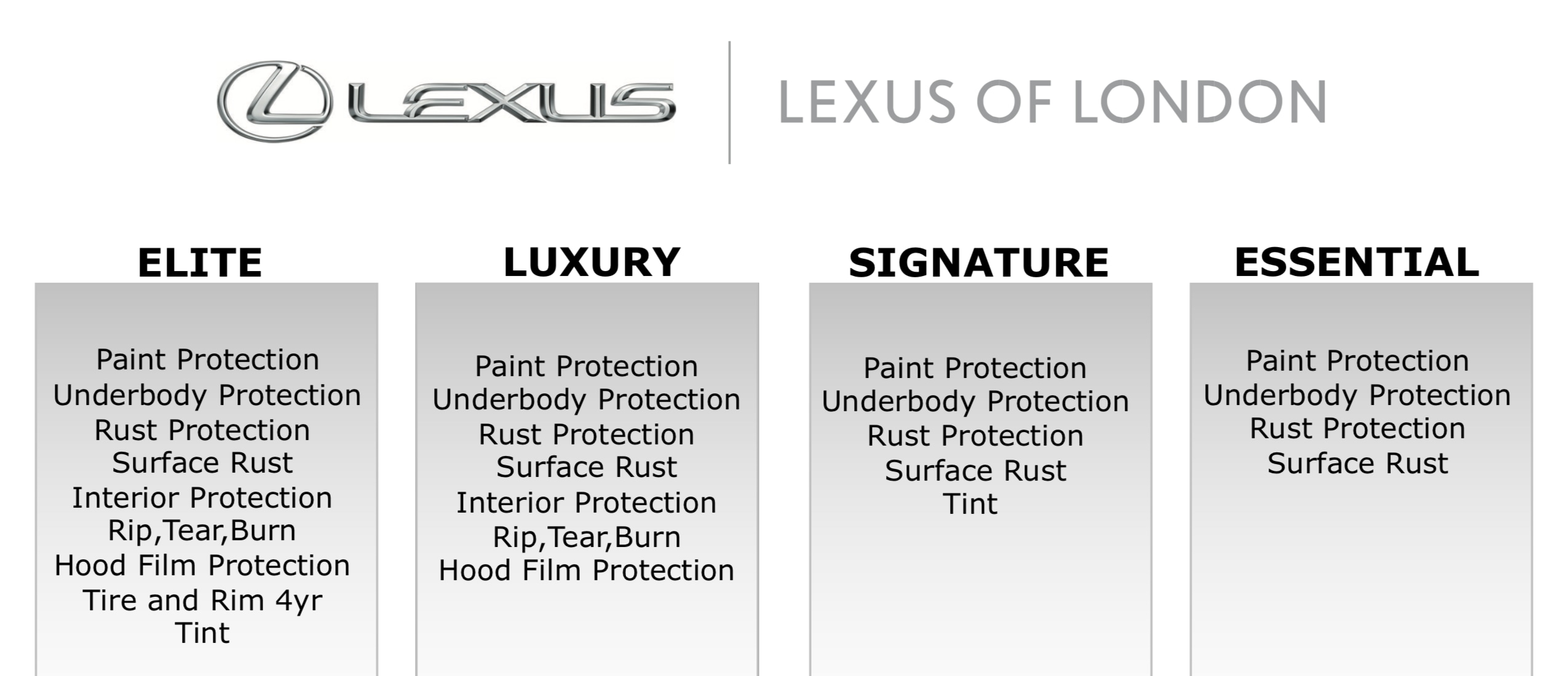 Personalized Protection Packages   LEXUS OF LONDON