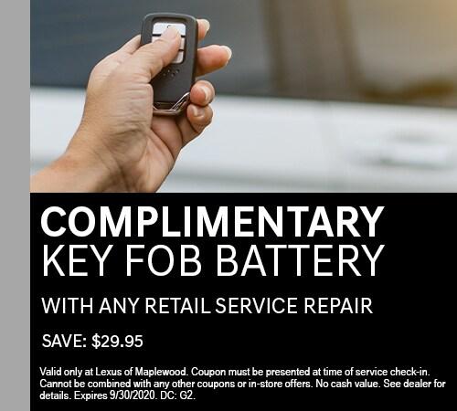 Complimentary Key FOB Battery