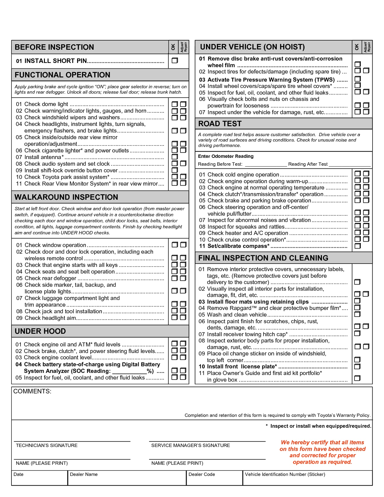 Pre Delivery Home Inspection Checklist