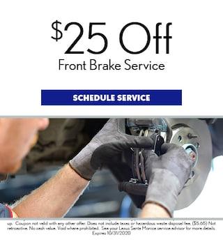 $25 Off Front Brake Service