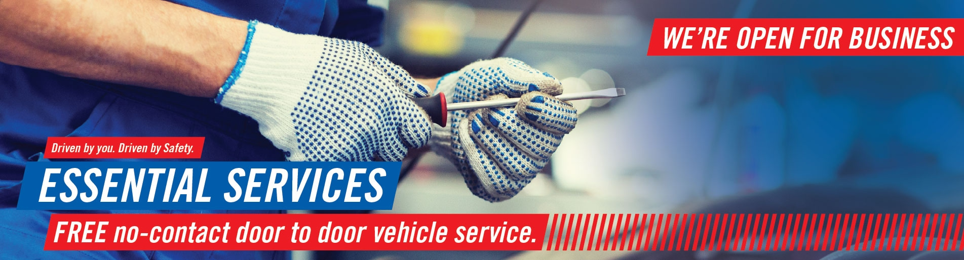 We are Open for Business! Free no-contact door-to-door vehicle service.