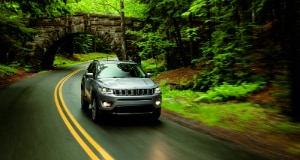 Jeep Compass driving in rain