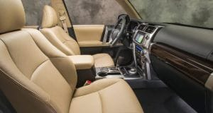 interior of a Toyota 4Runner showing front seats and dashboard