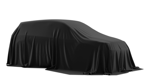 New car covered with black cloth