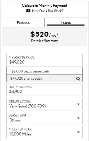 Tool to calculate monthly car payment for lease or finance