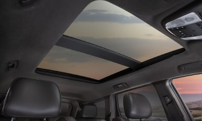 Jeep Grand Cherokee panoramic sunroof shown from the inside