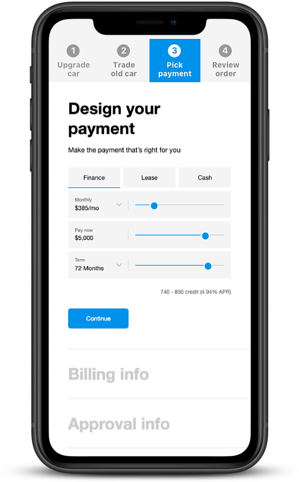 Smartphone screen showing Design Your Payment tool