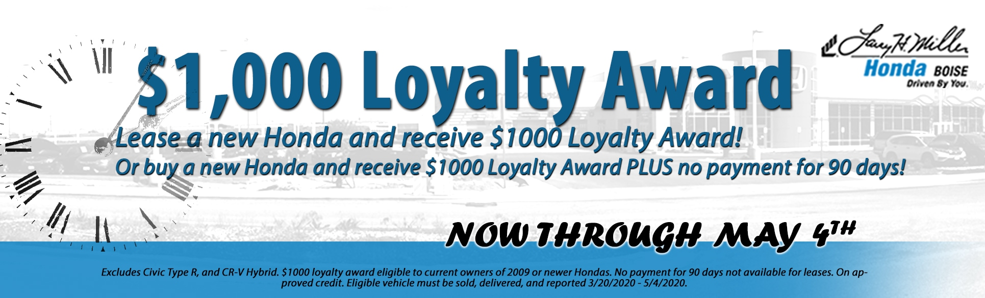 Buy a new Honda, get $1,000 loyalty cash!