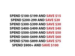 End of Summer Savings Bonus-- Save up to $100