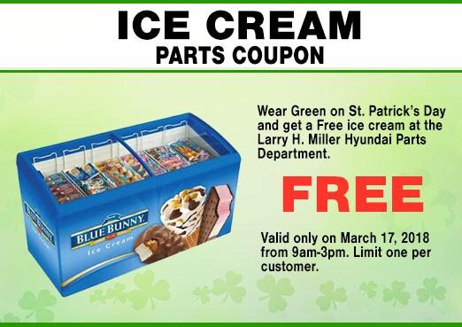 Hyundai Parts Department St. Patricks Day Free Ice Cream Coupon, Peoria, AZ