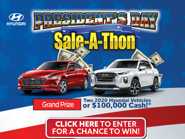 Enter for a chance to Win $100,000 or two New Hyundais!
