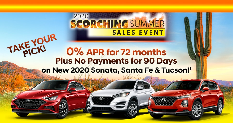 Take Your Pick! 0% APR Fianancing on new 2020 Sonata, Tucson and Santa Fe!