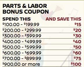 Parts & Labor Bonus Coupon