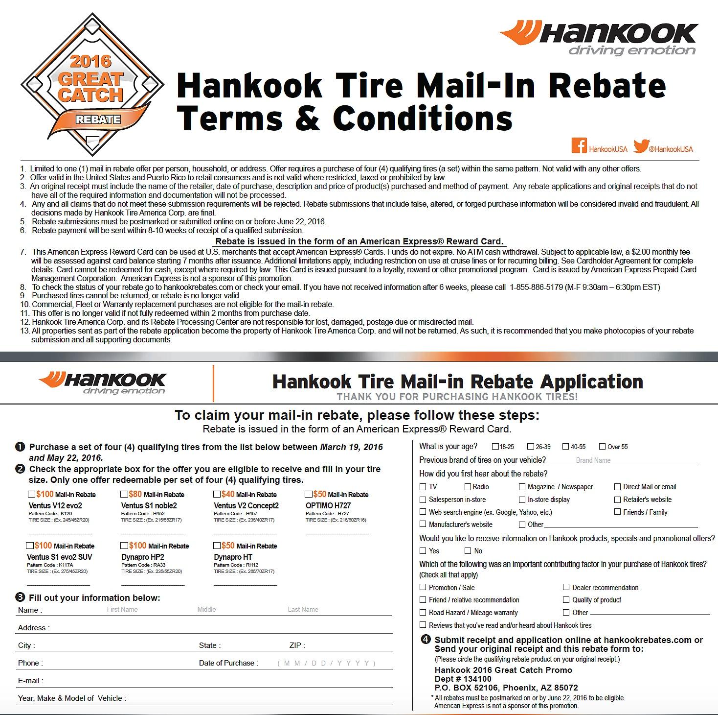 hankook tire rebate special highlands ranch. Black Bedroom Furniture Sets. Home Design Ideas