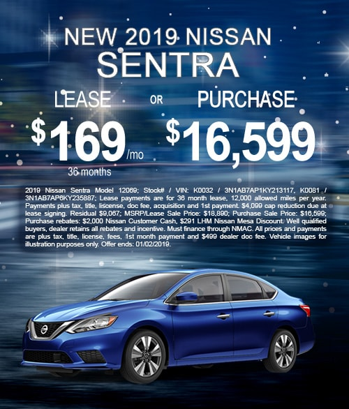 Lease & Purchase Offer on New 2019 Nissan Sentra in Mesa, AZ