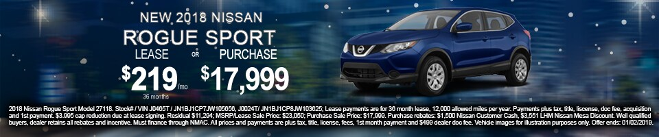 Lease & Purchase Offer on New 2018 Nissan Rogue Sport in Mesa, AZ