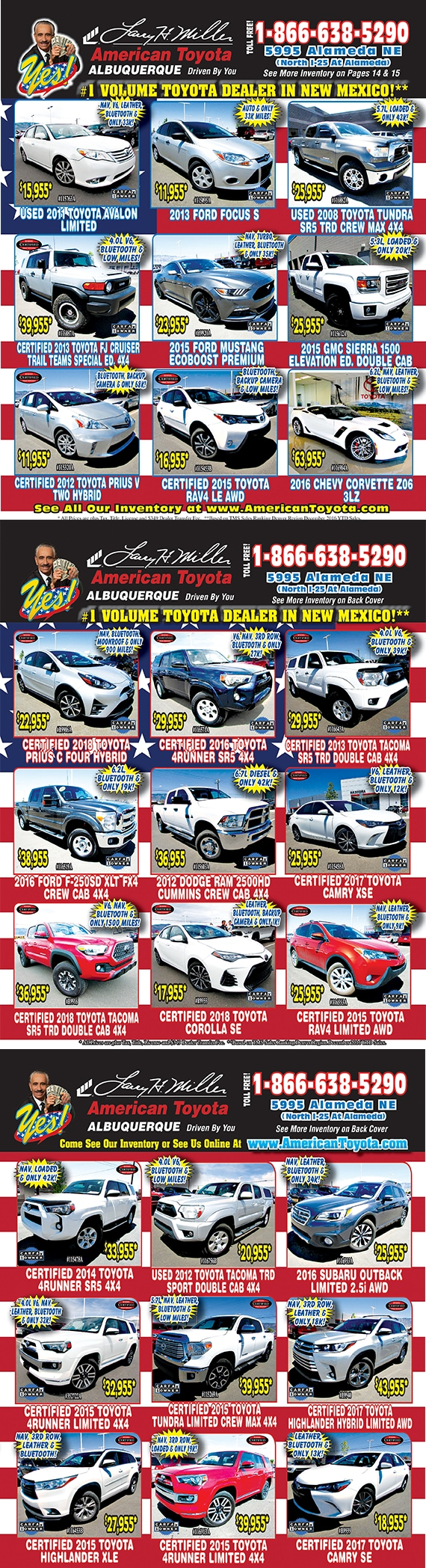 Best deals on wheels used car special ad
