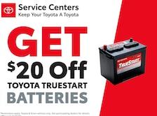 Get $20 off Toyota TrueStart Batteries
