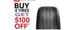 Buy 4 Tires Get $100 Off!
