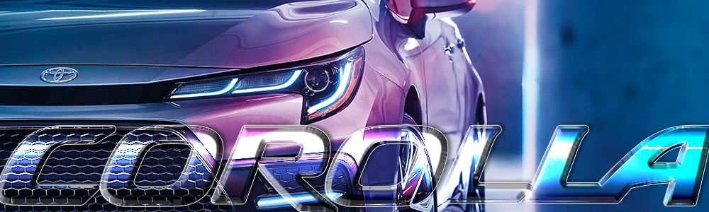 Silver 2019 Toyota Corolla under blue and pink neon lights