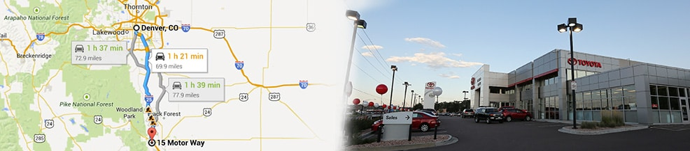 Larry H Miller Toyota Colorado Springs >> Directions from Denver | Larry H. Miller Toyota Colorado Springs Of Motor Way