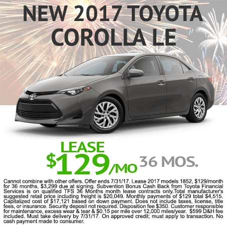 New 2017 Corolla Lease $129/mo Colorado Springs