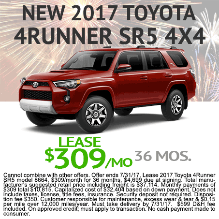 2017 Toyota 4Runner Lease $309/mo Colorado Springs