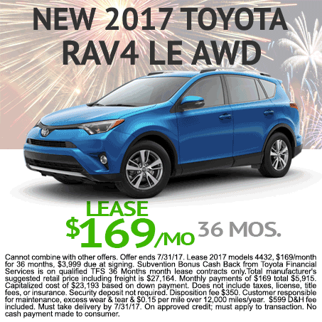 New 2017 Toyota RAV4 Lease $169/mo Colorado Springs